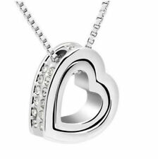 Crystal Fashion Heart 2016 Silver Plated Chain Necklace Womens Jewelry Pendant