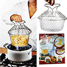 NEW PROFESSIONAL CHEF BASKET COOKING DRAINING COLANDER STEAMER COOKWARE COOK HOT