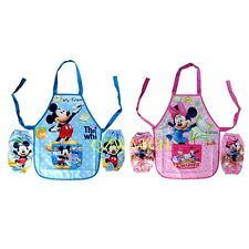 New Mickey Minnie mouse Childrens Kids Painting Cooking cake Apron + 2 sleeves