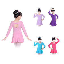 4-14Y Kids Girls Ballet Dance Dress Bowknot Leotard Dancewear Costume Skating