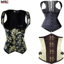 Women Punk Basque Waist Trainer Underbust Corset Top Cincher Boned Bustier Black