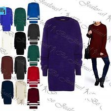 Womens Ladies Long Sleeve Oversized Chunky Knitted Long Sweater Jumper Dress Top