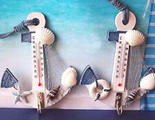 Hanging Hook Wood Anchor Thermometer Beach Shells Nautical Wall Home Decor
