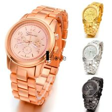 New Mens Womens Stainless Steel Quartz Sport Army Wrist Watch 4 colors ILOE