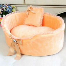 Pet kennel High-quality Circular dog house lace bow nest cat beds Send a pillow