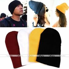 Unisex Warm Winter Cuff Cool Plain Solid Color Beanie Knit Ski Cap Skull Hat EE