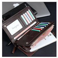 Mens Bifold Luxury Wallet Checkbook ID Card Holder Phone Purse Cowhide Leather