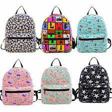 Women Girl Print Backpack Shoulder Bag Bookbag Canvas Rucksack Travel School Bag