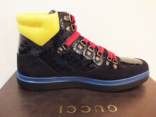 NIB GUCCI Men RARE BLACK LIMITED EDITION HIGH TOP LEATHER SNEAKERS 9.5 G / 10.5