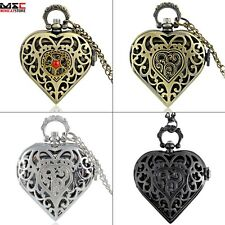Vintage Steampunk Heart Shaped Pocket Watch Quartz Pendant Necklace Chain Gift