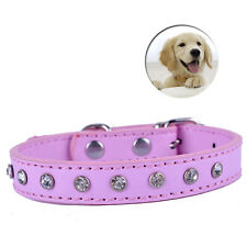 Cheap Pu Leather Dog Collar Rhinestones Studded Small Pet Dog Supplies 8-11inch