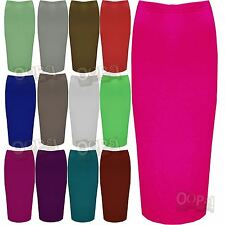 Ladies Double Layer Long Pencil Bodycon Womens Stretchy Tube Office Midi Skirt