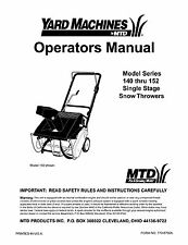 Yard Machines MTD Snow Blower Thrower Owner's Manual
