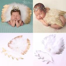 Newborn Baby Costume Photograph Props Leaves Headband + Feather Angel Wings
