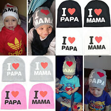 I Love PAPA MAMA Infant Baby Kids Love Boy Girl Cute Soft Warm Hat Cotton Caps