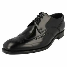 LOAKE Bogart Black Polished Leather Semi Brouge Mens Shoes
