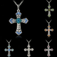 HOT Silver Jewelry CROSS Crystal Pendant Sweater Chain Necklace Women Gift vv