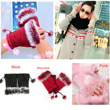Lovely Women Girl Faux Rabbit Fur Hand Warmer Winter Fingerless Gloves Mittens