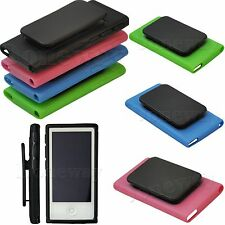 TPU Rubber Soft Case Cover Skin w/Belt Clip for Apple iPod Nano 7th Gen 7 7G #IR