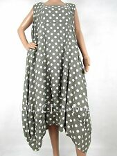 NEW Italian Linen Oversize Lagenlook Polka-Dot Plus Parachute Maxi Dress