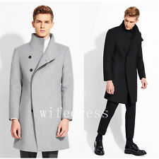 Fashion Men's Stand Collar Winter Wool Coat Warm Casual Jackets Outwear Overcoat
