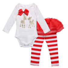 Newborn Baby Girl Deer Tops Romper Jumpsuit Long Pants Clothes Outfits Set 3-18M
