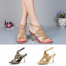 Women Girl Crystal Diamond High Heel Peep Toes Sandals Lady's Summer Shoes