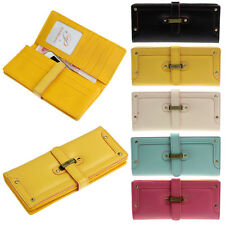 Lady Leather Purse Long Clutch Bifold Buckle Wallet High Quality Card Holder Bag