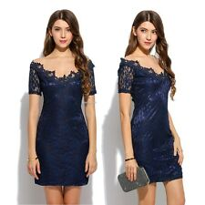 Fashion Women V-Neck Short Sleeve Floral Patchwork Lace Slim Evening Party Dress