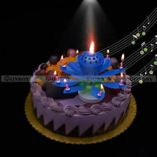 Double-deck Lotus Flower Decoration Musical Blossom Cake Topper Birthday Candle