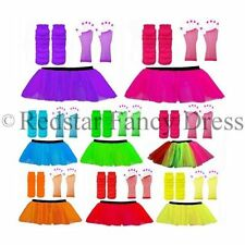 3 LAYER TUTU SKIRTS NEON LEG WARMERS FISHNET GLOVES 1980S FANCY DRESS HEN PARTY