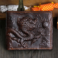 Brand Genuine Cowhide Leather Men Wallets Ethnic 3D Dragon Retro Money Purses
