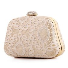 Fashion Sexy Lace Evening Clutch Wedding Party Beige Purse Women Shoulder Bag