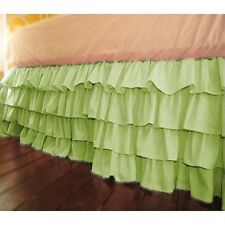 1Qty Multi Ruffle Bed Skirt Egyptian Cotton Sage Solid 1000 TC Drop 8-30''