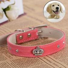 Luxury Crown Rhinestone Collar Soft Suede Leather Dog Collar Small Pet Supplies