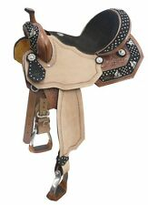 Double T SILVER & CRYSTAL Barrel Racer Conchos on Suede Leather Barrel Saddle