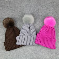 Winter Warmer Wool Fur Crochet Knitted Hat Pompom Ball Cap Baby Kids Children