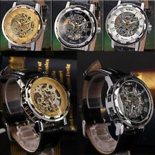 Sport Army Transparent Skeleton Leather Band Men's Mechanical Wrist Watch
