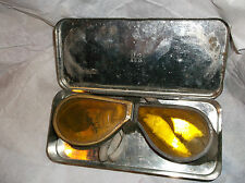 ww2 raf flying goggles in tin box verry old
