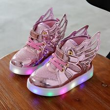 New girls shoes baby fashion led shoes kids light up glowing sneakers with wings