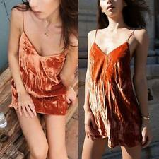 Women's Velvet Strapless Casual Mini Dress Party Cocktail Vintage Clubwear SML