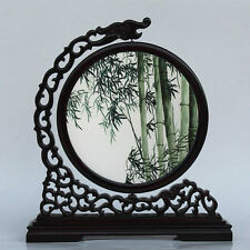 Chinese double-sided silk embroidery  ornament art bamboo screen