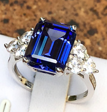 6.8ct Emerald Cut Created Blue Sapphire Real 925 Sterling Silver Engagement Ring