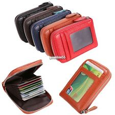 Holder PU Leather Mens Wallet ID Credit Card Purse Womens Fashion Zip Case 5EA9
