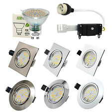Chrome GU10 LED 4W SMD Bulbs Recessed Ceiling Light Downlight Fitting Adjustable