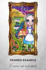 """Art Print """"Alice and Absolem"""" Alice in Wonderland inspired Caterpillar painting"""