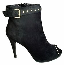 LIPSY LONDON WOMENS HIGH HEEL OPEN TOE ANKLE BOOTS BLACK FAUX SUEDE SIZES 4-8