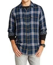 NEW TAILOR VINTAGE MENS MULTI BLUE PLAID/CHECKERED REVERSIBLE FLANNEL SHIRT