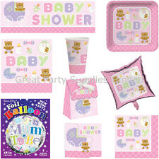 Girls Baby Shower Pink Party Supplies - Plates, cups, napkins etc - Free P&P