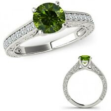 1 Carat Green Diamond Filigree Milgraining Wedding Ring Band Set 14K White Gold